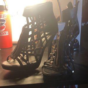 Liliana black caged heels